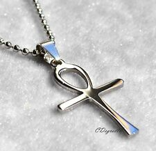 361L Stainless Steel Ankh Egyptian Cross Men Women Pendant with Chain Necklace
