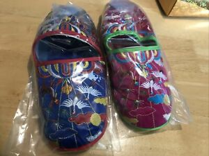 CHINESE EMBROIDERED SLIPPERS 2 PAIRS VINTAGE 90S  7-8 Size UNUSED