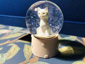 Gisela Graham Mini White Cat Christmas Snow Globe