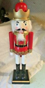 Christmas Holiday Wood King Nutcracker in Red and Gold Hologram with Crown
