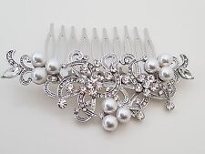Bridal Wedding Flower Crystal Diamante Pearls Women Hair Clip Comb 234