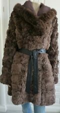 RRP@£1400 - JESSIMARA brown rabbit fur / fox collar belted coat - M / UK12