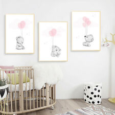 Bear Balloon Nursery Poster Wall Art Canvas Print Baby Pregnant Bedroom Decor