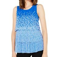 Alfani Womens Blouse Blue Size Medium M Tiered Polka Dot Scoop Neck $59 033