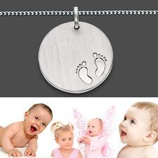 Baby Kinder Füßchen Anhänger Silber 925 mit Namen Gravur und Kette Länge wählbar