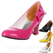 Damen Wedges Pumps Keilabsatz Schuhe high heels lack mit schleife Größe 34-42