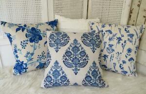 New Hamptons Blue Floral Linen Look Lounge Bed Home Decor Cushion Cover