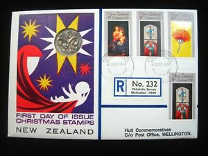 POSTAL FDC NEW ZEALAND 1972 Christmas Registered Hutt Coin Stamp Philatelic