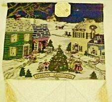 """Tapestry Wall Hanging Christmas Village Winter 13"""" x 16"""""""