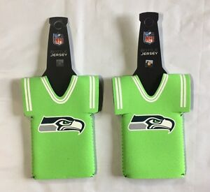 Lot of 2 Seattle Seahawks Bottle Jersey Beer Holder Can Cooler Sleeves NEW