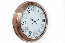 LARGE COPPER IRON METAL WHITE GLASS FACE ROUND WALL CLOCK