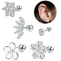 Stainless Steel Gem Flower Barbell Ear Cartilage Tragus Stud Earring Piercing 2P