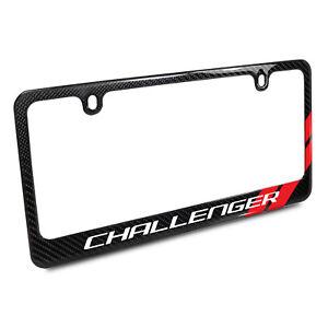 Dodge Challenger Red Stripe Black Carbon Fiber License Plate Frame