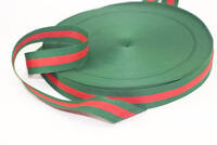 5 yd Gucci style, Green Red Striped Ribbon Trim, Double Faced Grosgrain, new