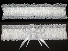 WEDDING GARTER SET WHITE WITH SILVER EDGED RIBBON AND SMALL ROUND DIAMANTE