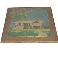 Vintage Phi Kappa Tau House Painting Cornell Fraternity 1947-1951