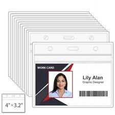 Clear Plastic Horizontal Name Tag Badge ID Card Holders 3 x 4'' Non toxic Pack