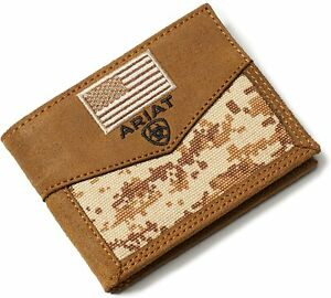 Ariat Mens Sport Digital Camo Patriot Bifold Wallet (Brown)