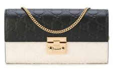 NEW GUCCI GUCCISSIMA LEATHER PADLOCK CONTINENTAL CHAIN STRAP CLUTCH WALLET