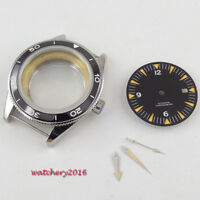41MM Sapphire Glass Watch Case + Black Dial + hands Fit ETA 2824 2836 Movement