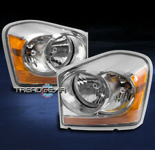 2004-2005 DODGE DURANGO CRYSTAL STYLE HEADLIGHTS LAMPS CHROME/AMBER REPLACEMENT