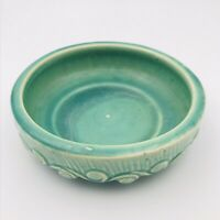 Vintage McCoy Round Green Pottery Footed Flower Bulb Planter Bowl Swirl Pattern