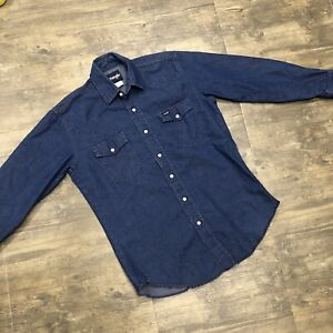 Wrangler Pearl Snap Denim Western Shirt S-M Cowboy Long Sleeve Dark Blue