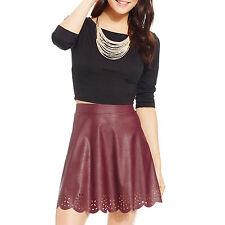 New STOOSH Juniors Laser Cut Faux Leather Skater Skirt Short A-Line XS Burgundy