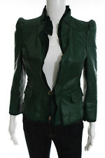 Gucci Dark Green Leather Long Sleeve Ruffle Neckline Jacket Size Italian 42