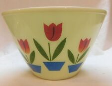 """VINTAGE FIRE KING TULIPS BOWL TULIP 9 AND 1/2"""" ACROSS 6&1/4"""" TALL  NICE"""
