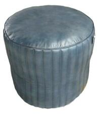 Leather Round Pouffe / Footstool / Stool / Seat - Blue Colour