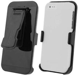 WHITE HARD CASE BLACK BELT CLIP HOLSTER STAND FOR iPHONE 5 5s SE (2016)