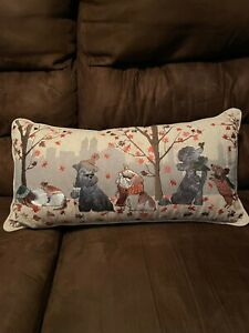 Pier 1 Embroidered Dog Dogs City Urban Autumn Fall Tapestry Lumbar Throw Pillow