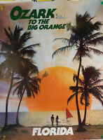 1970's 22X28 FLORIDA OZARK AIRLINES FLY TO THE BIG ORANGE TRAVEL POSTER