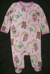 MUPPET BABIES PINK FOOTED SLEEPER WITH HEARTS & RAINBOWS-SIZE 3/6 MONTHS-NWT