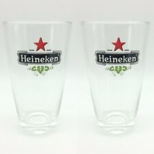 "Set 2 of 5"" Beer Glass Heineken Vintage Rare & Collectible Pint Mug Party Thai"