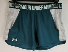 Under Armour Heat Gear Womens Size Small Green White Athletic Running Shorts
