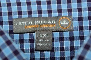 PETER MILLAR Summer Comfort Button Front Shirt XXL Blue Burgundy White Checks
