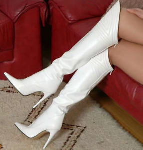 Women's Leather Pointy Toe Over the Knee Thigh High Boots Nightclub Slim Heels