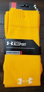 NWT Under Armour Heatgear Over The Calf Sport Socks Adult Large Yellow
