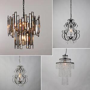 Chandelier Style Modern Ceiling Light Shade Droplet Pendant Crystal Bead Black