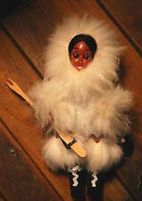 Vintage INUIT ESKIMO GIRL Sleeper Eye Doll Real Fur, Suede Boots/Mittens, Spear