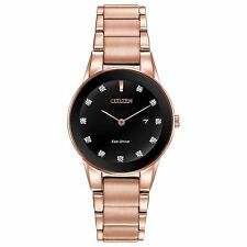 Citizen Eco-Drive Women's GA1058-59Q Axiom Diamond Markers Rose Gold 30mm Watch
