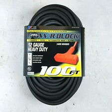 100' 12 Gauge Black Heavy Duty Cord with Triple Outlet - MADE IN USA