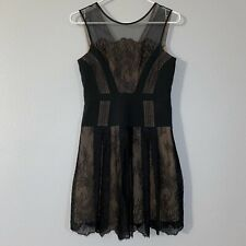 BCBGMaxazria Black Mesh Lace Sleeveless Dress Women's 0