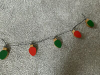 Vintage Wood Wooden Red Green Christmas Light Bulb Garland Strand Decoration