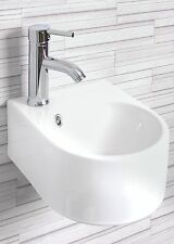Compact Round Vroma Squircle Wall Hung Ceramic Cloakroom Basin With Tap & Waste