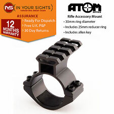 Rifle scope accessory mount / 30mm+ 25mm torch mount / Laser mount + weaver rail