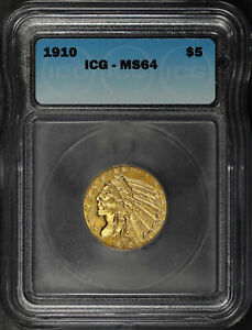 1910 Half Eagle $5 Gold Indian ICG MS-64