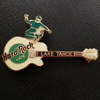 LAKE TAHOE USA🇺🇸Hard Rock CAFE® HRC PIN 🇺🇸 GREEN Snowboarder White Guitar ✅